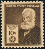 Alexander Graham Bell (1847-1922), American stamp issued 1940.