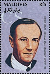 Sir James Chadwick (1891-1974), Maldives stamp issued 1995.