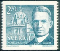 Frederick Soddy (1877-1956), Swedish stamp issued 1981.